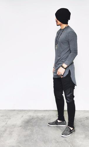 camiseta camisa oversized longline masculina ny kings top