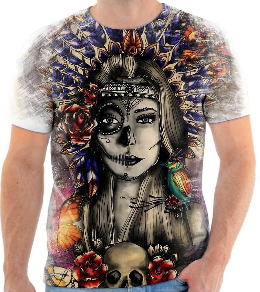 ecc61bd35f camiseta camisa personalizada caveira mulher india 123. Carregando zoom.