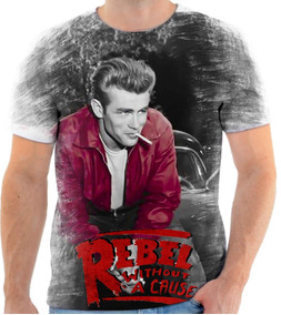 0cbcb4751 Camiseta Camisa Personalizada James Dean Rebel Cause Without