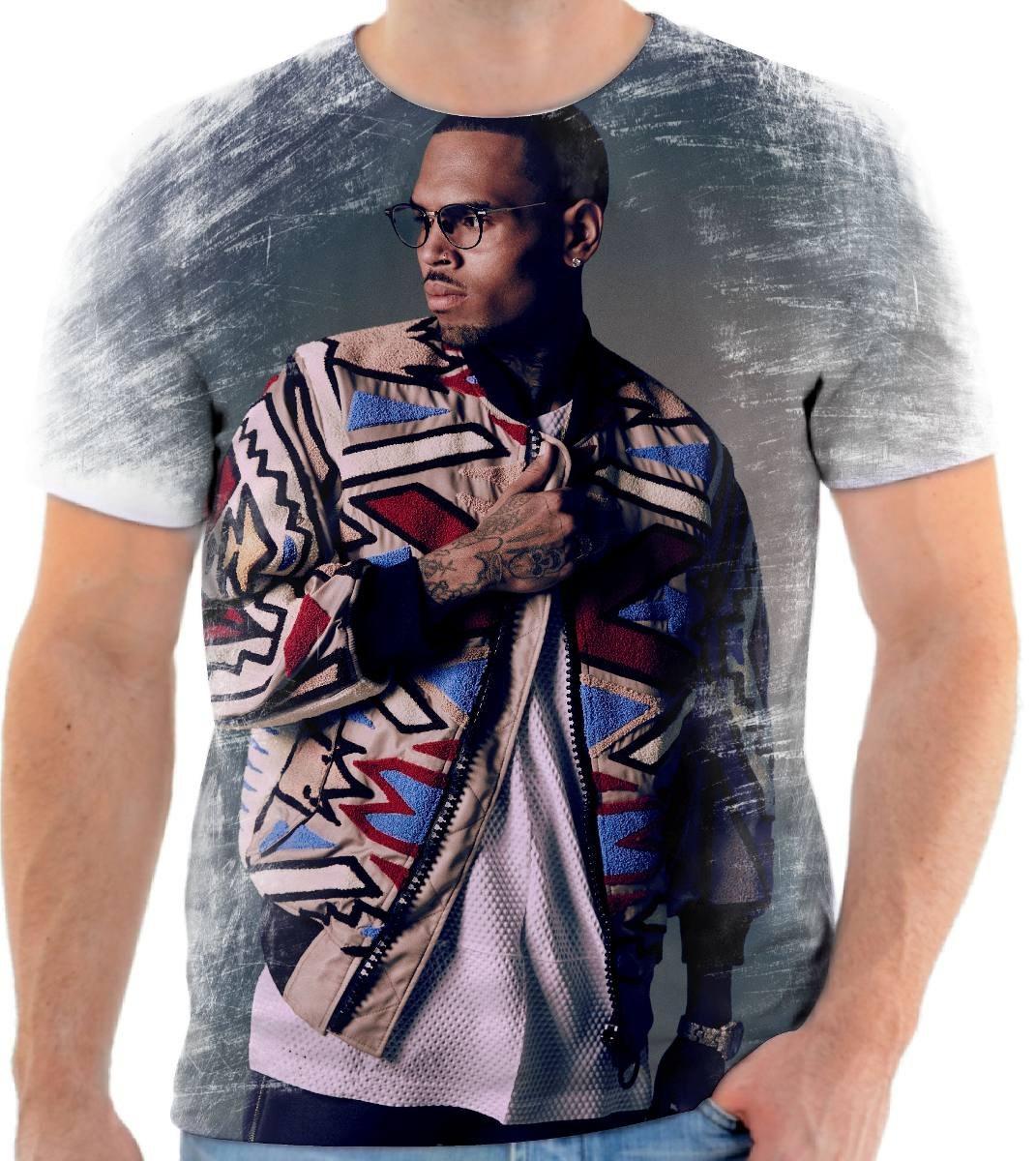 Camiseta Camisa Personalizada Rapper Chris Brown Swag 9 - R  54 a137ad7cf6580