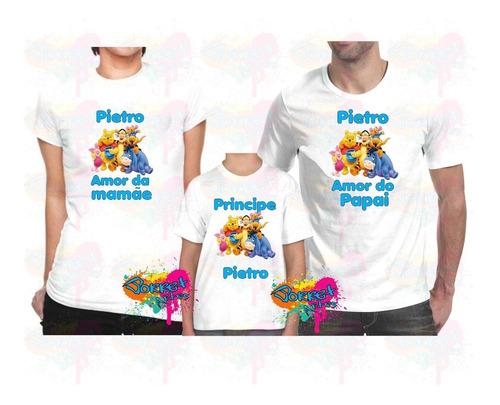 camiseta - camisa personalizada ursinho pooh a4 / 3 peças