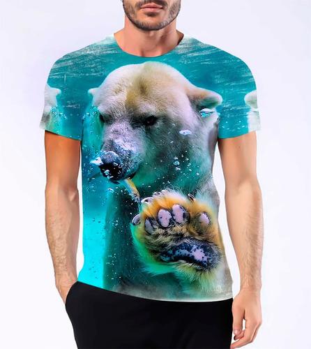 camiseta camisa personalizada urso polar caçador branco hd