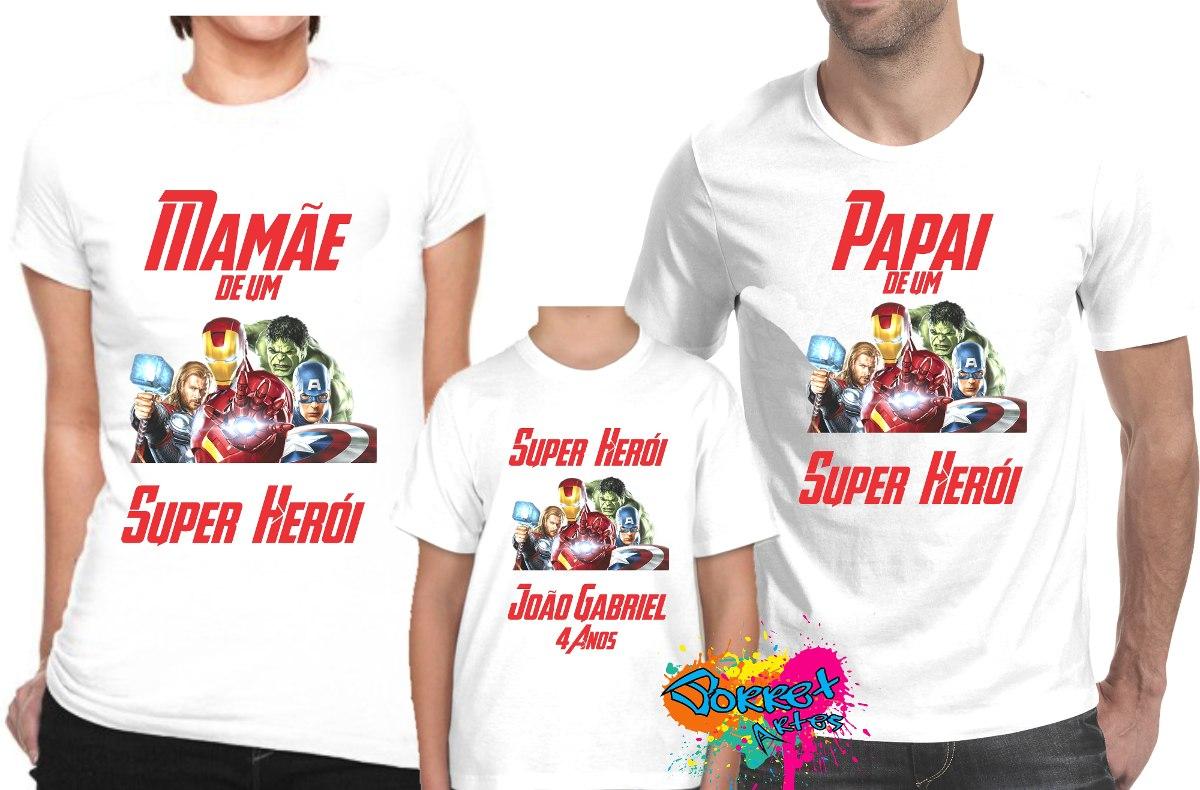 Desenho De Camisa: Camisa Personalizada Vingadores Marvel A3/ 3pçs