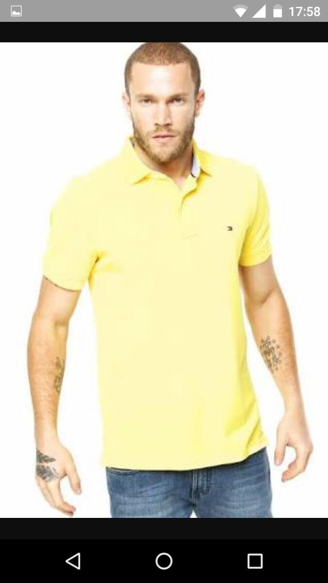 eafc2545c0f80 camiseta camisa pólo masculina tommy hilfiger básica amarela. Carregando  zoom.