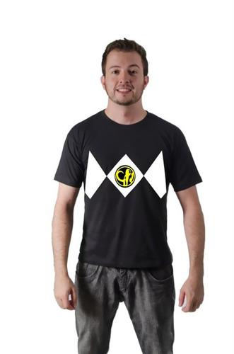 camiseta camisa power rangers preto algodão