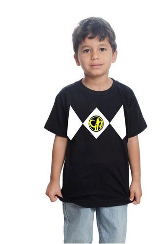 camiseta camisa power rangers preto infantil algodão