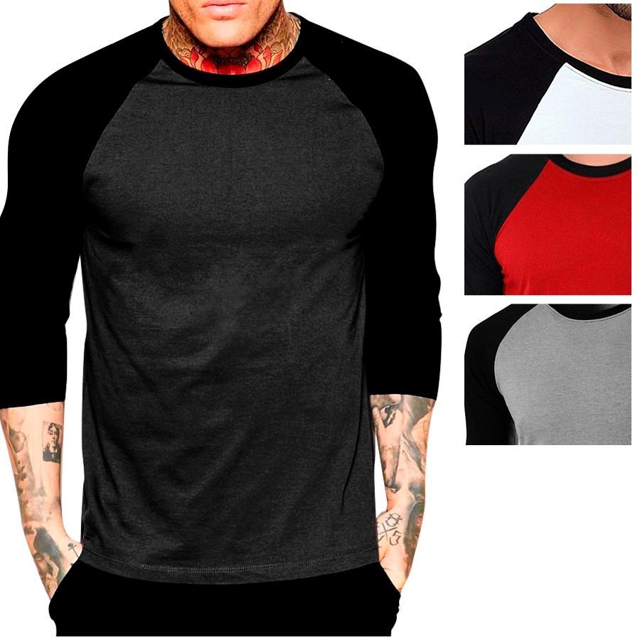 camiseta camisa raglan 3 4 masculina lisa 100 % algodão top. Carregando zoom . 48e75df2efd