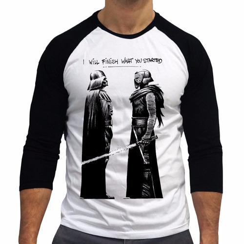 camiseta camisa star wars jedi darth vader skywalker fin 3/4
