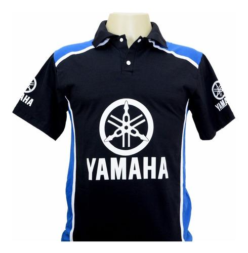 camiseta camisas masculina gola polo esportiva moto yamaha