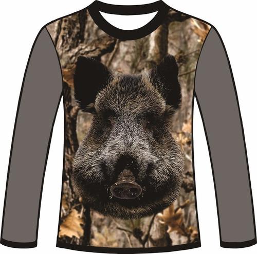 camiseta camuflada manga longa caçadores brs- 5