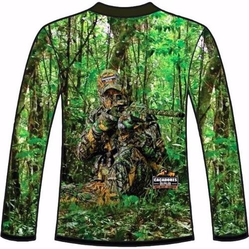 camiseta camuflada manga longa caçadores brs atirador 2