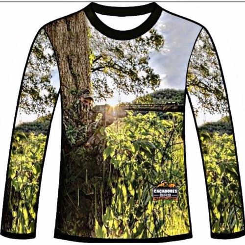 camiseta camuflada manga longa caçadores brs atirador 3