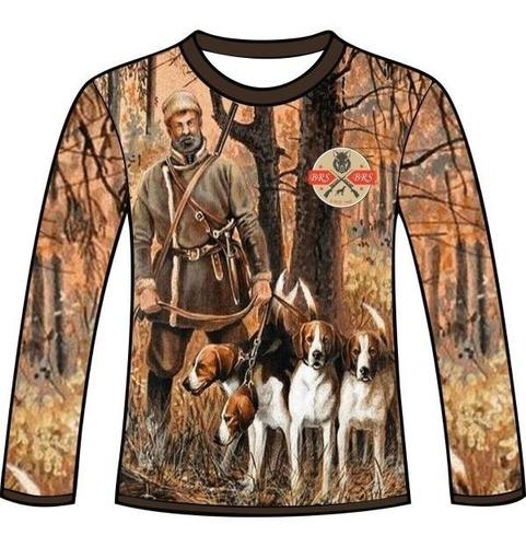 camiseta camuflada manga longa caçadores brs - matilha