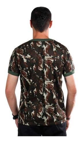 camiseta camuflada padrão exército brasileiro polivicose