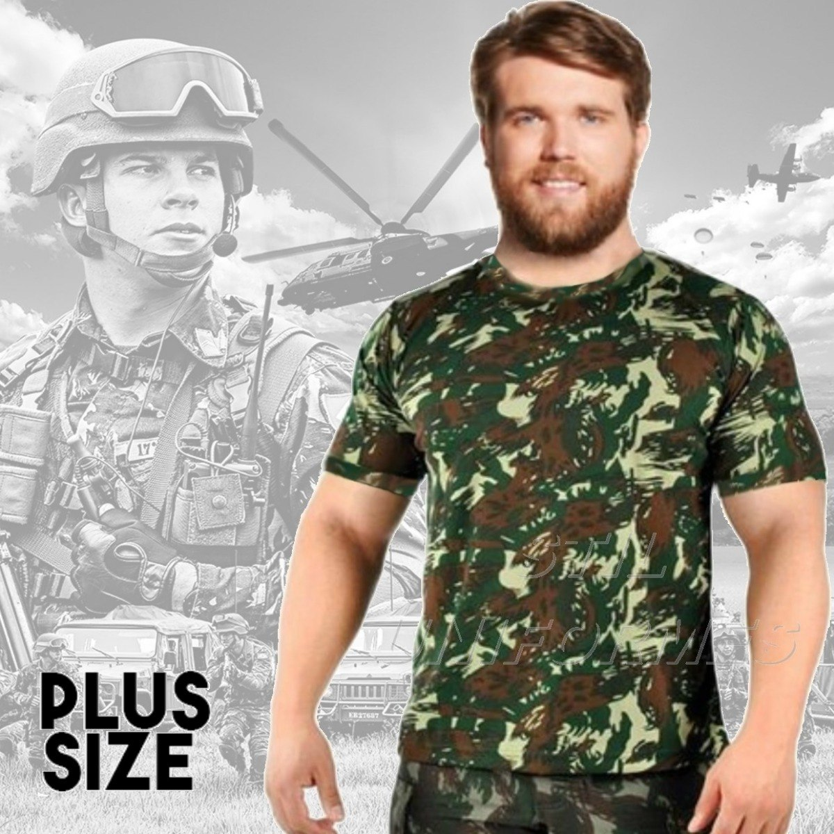 01f4794b49950 Camiseta Camuflada Plus Size - Camisa Exército Paintball