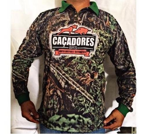 camiseta camuflada polo manga longa caçadores brs- 1