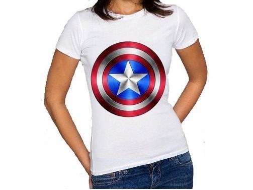 614eb593e Camiseta Capitão América - Feminina - R  29