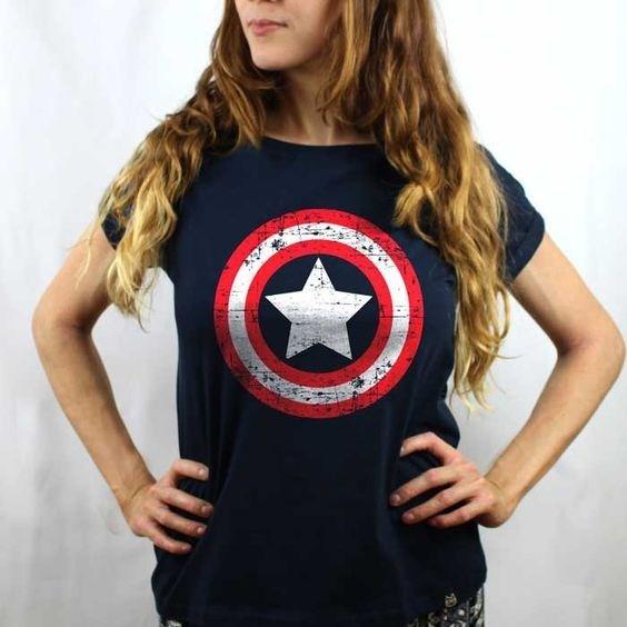e21569a83 Camiseta Capitão América Feminina Séries Games Geek Feminina - R  64 ...
