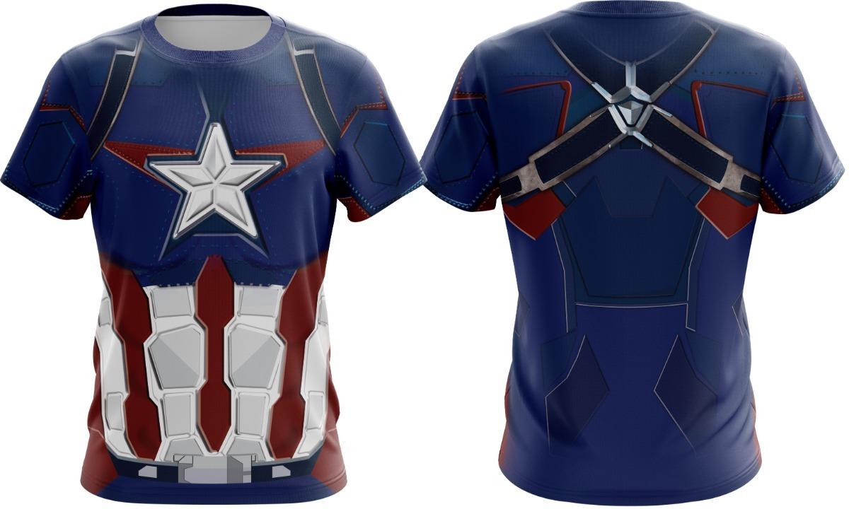 caebc5f0e7 camiseta capitão america vingadores fantasia - manga longa. Carregando zoom.