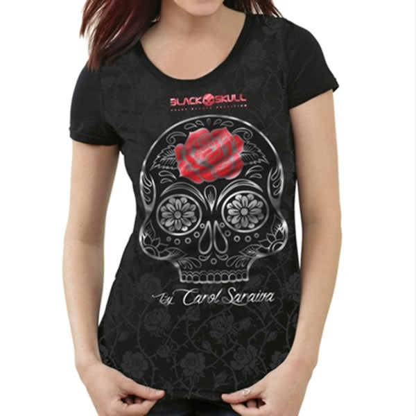 a38ff2f9e Camiseta Carol Saraiva Feminina - Preta - Black Skull - R  59