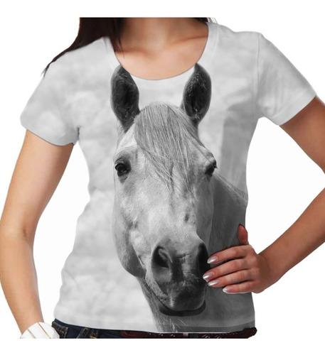 camiseta cavalo árabe branco feminina