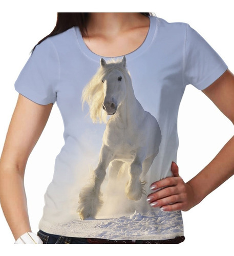camiseta cavalo white winter snow feminina