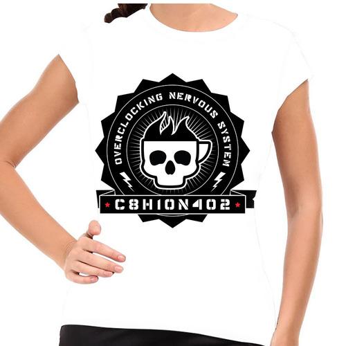 camiseta caveira cafeína baby look