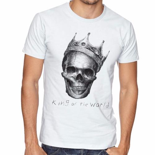 camiseta caveira coroa rei blusas manga curta tamanho