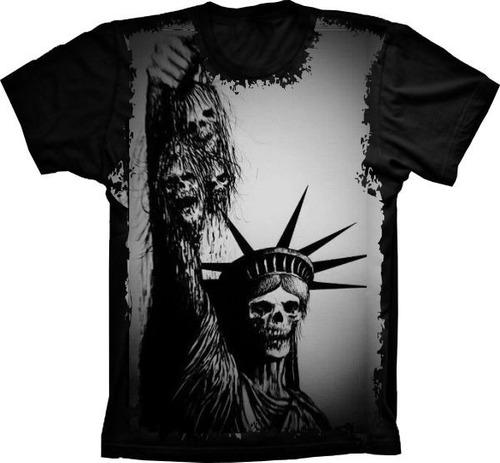 camiseta caveira estátua da liberdade