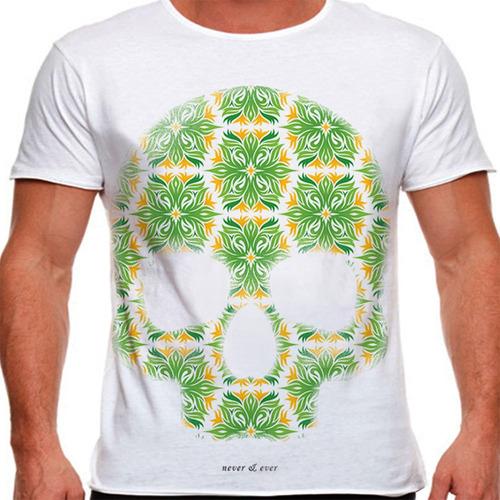 camiseta caveira floral masculina