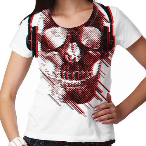 camiseta caveira fone branca feminina