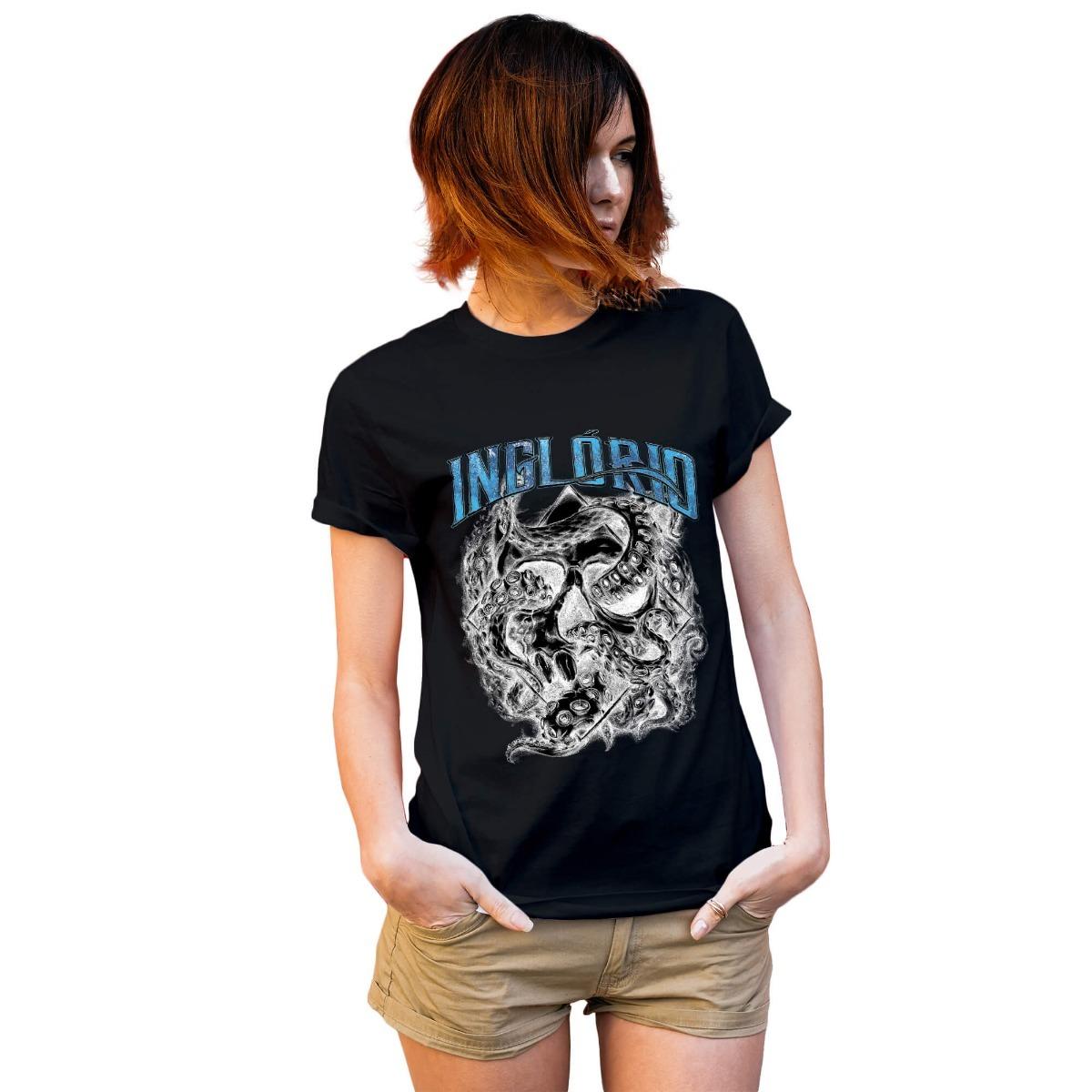 b3df41ed86 camiseta caveira polvo escuro feminina. Carregando zoom.
