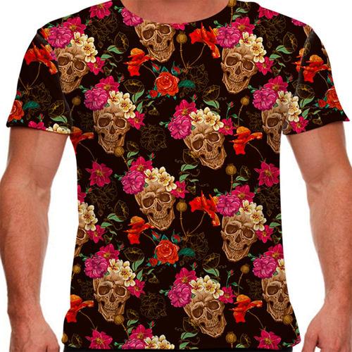 camiseta caveira skull flowers masculina