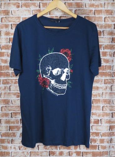 camiseta caveira skull strass