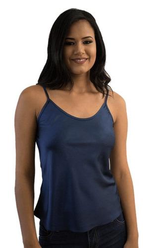 camiseta cetim azul petróleo