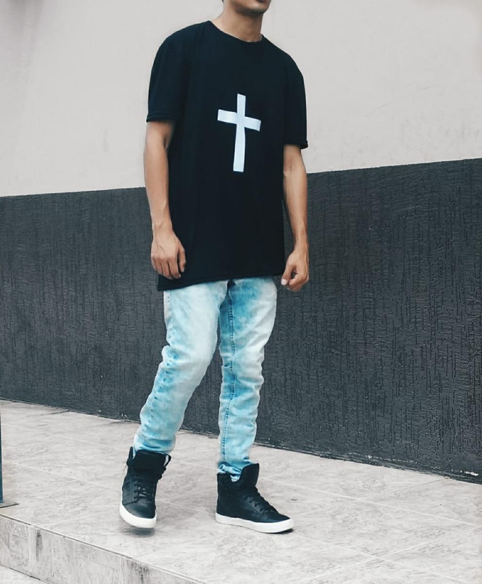aa66a8078 camiseta com cruz camisa masculina swag longline oversized. Carregando zoom.