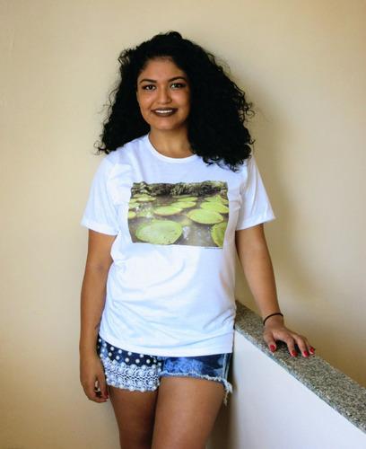 camiseta com foto impressa  vitória régia  manga curta