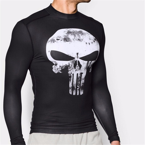 camiseta compressao justiceiro marvel fantasma uv dryfit 3d