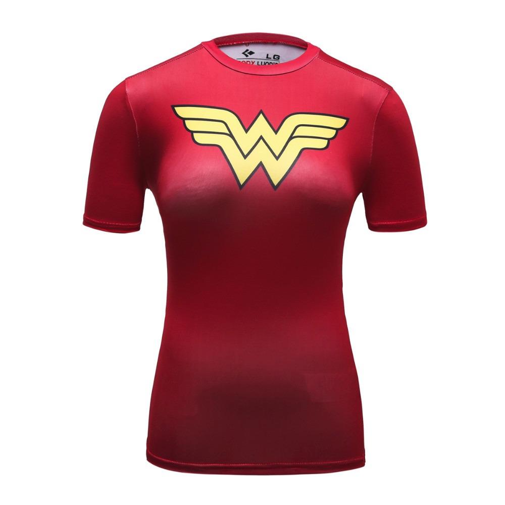 Camiseta Compressão Rash Guard Feminina Mulher Maravilha Fit - R ... a336bda6a83fb