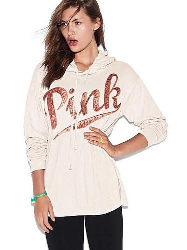 camiseta  con capucha victoria's secret pink.