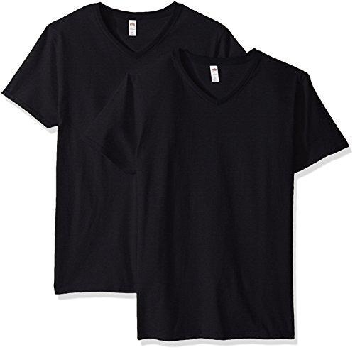 camiseta con cuello v fruta  el loom hombre paquete 4 negra