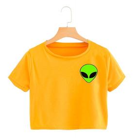Top Alien Corta Crop Verde Camiseta Marciano Mujer CxeQBEdWro