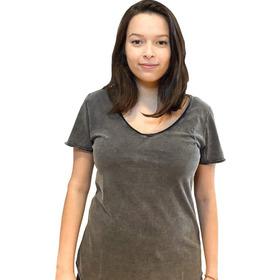 Camiseta Corte A Fio Preta Marmorizado 100% Algodão