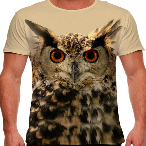 camiseta coruja marrom masculina