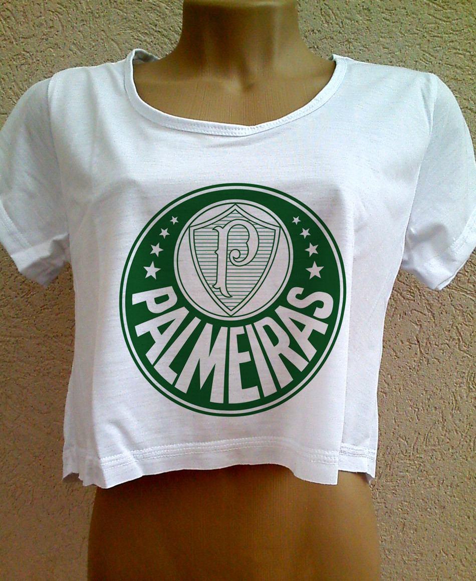 7bfcf27795 Camiseta Cropped Palmeiras Feminina Com Manga Blusa Verdao - R  26 ...