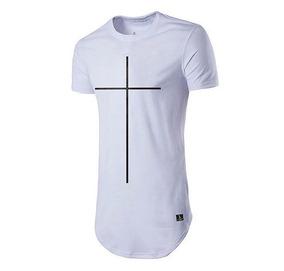 bb259d4269 Camiseta Long Line Cruz - Camisetas Masculino Manga Curta no Mercado Livre  Brasil
