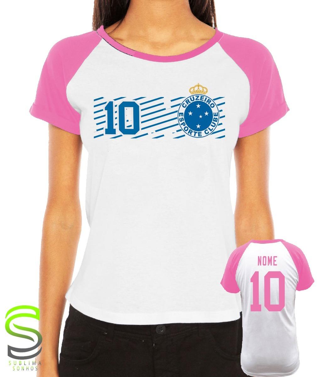 04626af005 camiseta cruzeiro feminina personalizada rosa. Carregando zoom.