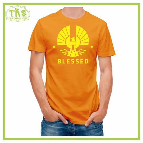 camiseta cuello redondo manga corta blessed cristiana