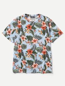 d63e56b7a Camiseta De Hombres Con Estampado De Hoja De Selva Y Flor