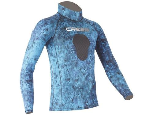 camiseta de lycra cressi blue hunter, caça e mergulho